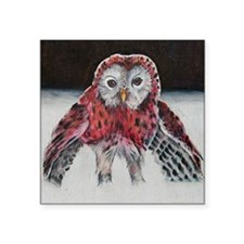 """LIttle Red Riding Hoot Square Sticker 3"""" x 3"""""""