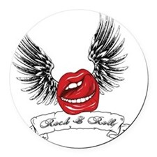 Rock N Roll Winged Lips Round Car Magnet