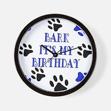 Bark Its My Birthday Blue Wall Clock
