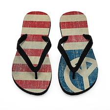 Vintage Peace In America Flip Flops
