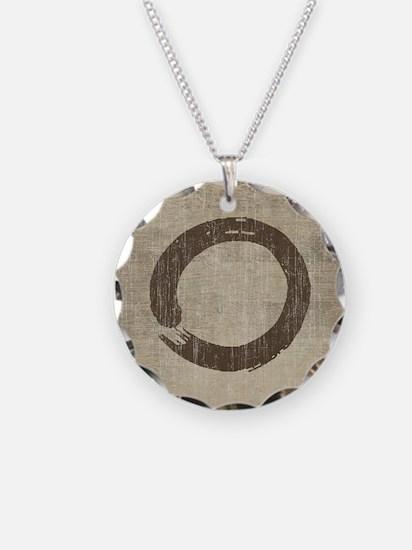 Vintage Enso Symbol Necklace Circle Charm