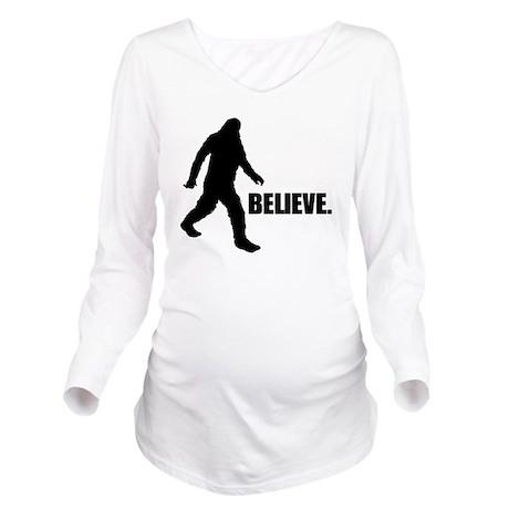 BELIEVE IN BIGFOOT Long Sleeve Maternity T-Shirt