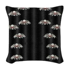 Gothic Silver Skulls Flip Flop Woven Throw Pillow
