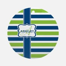 Blue and Lime Stripes Monogram Ornament (Round)