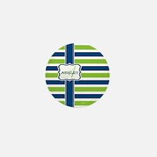 Blue and Lime Stripes Monogram Mini Button
