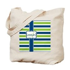 Blue and Lime Stripes Monogram Tote Bag