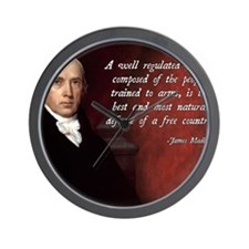 James Madison Militia Quote Wall Clock