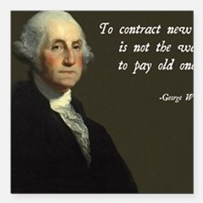 "George Washington Debt Q Square Car Magnet 3"" x 3"""