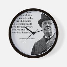 Winston Churchill British Empire Quote Wall Clock