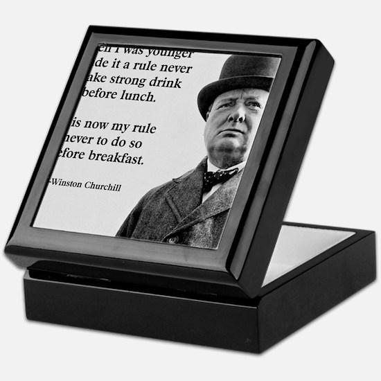 Winston Churchill Alcohol Quote Keepsake Box