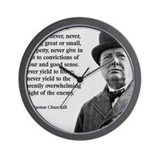 Never Give In Churchill Quote Wall Clock