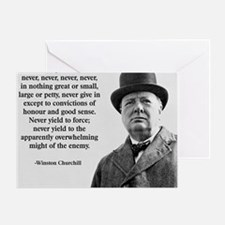 Never Give In Churchill Quote Greeting Card