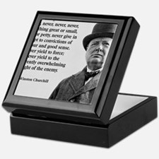 Never Give In Churchill Quote Keepsake Box