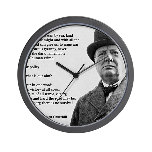 Winston Churchill Victory Quote: Winston Churchill Victory Quote Wall Clock By Admin_CP145763