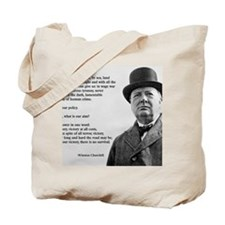 Winston Churchill Victory Quote Tote Bag
