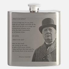 Winston Churchill Victory Quote Flask