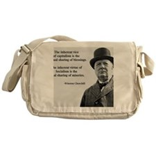 Winston Churchill Capitalism Quote Messenger Bag