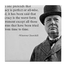 Winston Churchill Democracy Quote Tile Coaster