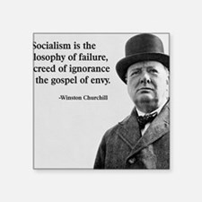 "Churchill Anti-Socialism Qu Square Sticker 3"" x 3"""