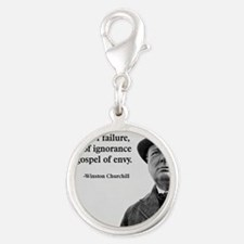 Churchill Anti-Socialism Quote Silver Round Charm