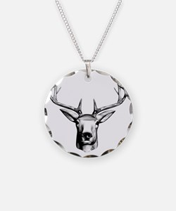 Deer Head Necklace Circle Charm