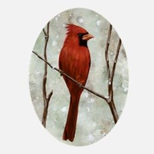 cardinal-greet Oval Ornament