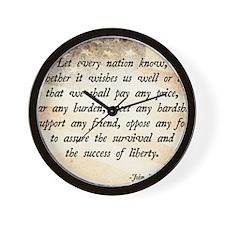 John F. Kennedy Quote Wall Clock