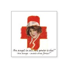 "French Red Cross Poster Nur Square Sticker 3"" x 3"""