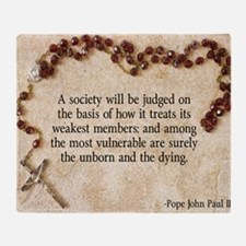 Pope John Paul II Pro-Life Throw Blanket