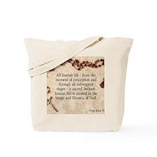 Catholic Pro-Life Quote Tote Bag