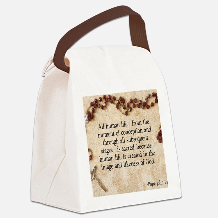 Catholic Pro-Life Quote Canvas Lunch Bag