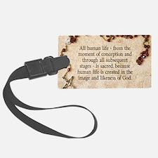 Catholic Pro-Life Quote Luggage Tag