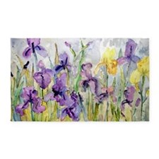 Purple and Yellow Iris Romantic Ruf 3'x5' Area Rug