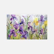 Purple and Yellow Iris Romantic Ruf 3'x5' Area Rug