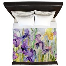 Purple and Yellow Iris Romantic Ruffles King Duvet