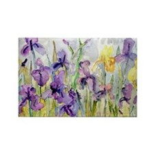 Purple and Yellow Iris Romantic R Rectangle Magnet