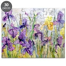 Purple and Yellow Iris Romantic Ruffles Puzzle