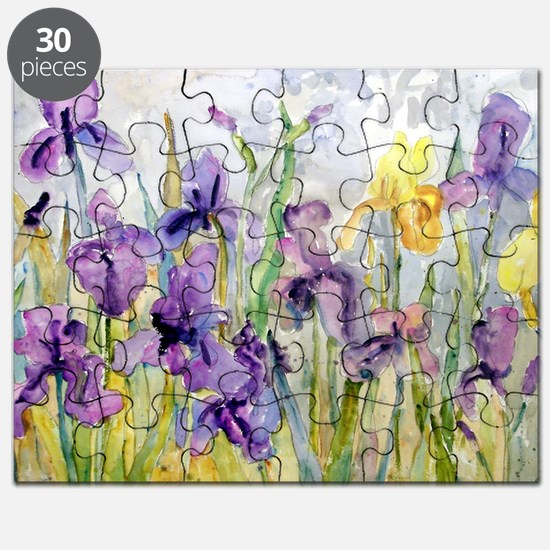 Purple and Yellow Iris Romantic Ruffles Puzzle