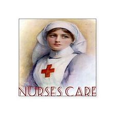 "Red Cross Poster Nurses Car Square Sticker 3"" x 3"""