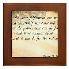 Warren G. Harding Quote Framed Tile