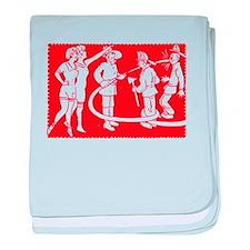 Vintage Fireman Stamp Red baby blanket