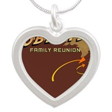 Roberts Family Reunion Logo Silver Heart Necklace