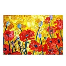 Red Poppy Bed Decorative  Postcards (Package of 8)
