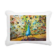 Preening Peacock Decorat Rectangular Canvas Pillow
