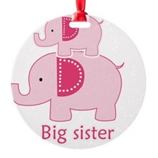Big Sister Pink Elephant Round Ornament