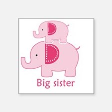 "Big Sister Pink Elephant Square Sticker 3"" x 3"""