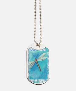 Dragonfly Watercolor Dog Tags