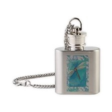 Dragonfly Watercolor Flask Necklace