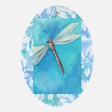 Dragonfly Watercolor Oval Ornament