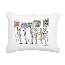 Alien Protestors Rectangular Canvas Pillow